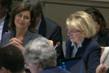 Marie Paule Roudil (right), Director of UNESCO's New York liaison office (Video screen grab).