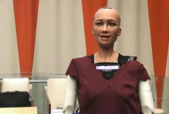 Sophia at a meeting on artificial intelligence and technology at the UN Headquarters in New York.