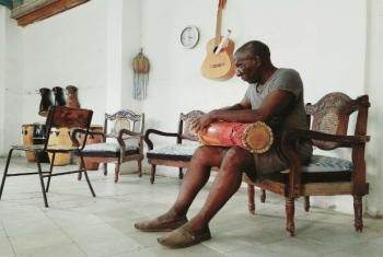 Traditional batá drum maker in Cuba during a month of remembrance for slaves in March.