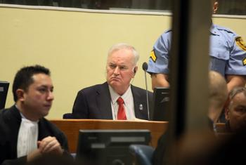 Ratko Mladic, former commander of the Bosnian Serb Army, at his trial judgement at the International Criminal Tribunal for the Former Yugoslavia.