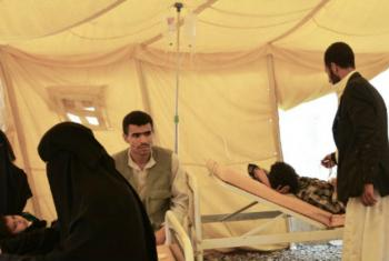A cholera treatment centre in Yemen, where there have been more than 900,000 suspected cases of the disease since April.