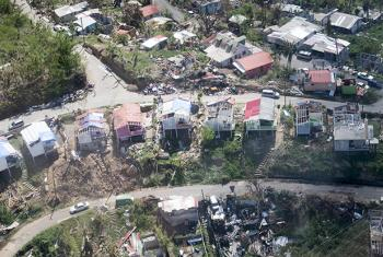 Aerial view of Dominica during the Secretary-General António Guterres's visit in October to survey the damage caused by the category 5 Hurricane Irma.