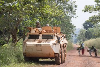 Moroccan peacekeepers serving with the UN Multidimensional Integrated Stabilization Mission in the Central African Republic (MINUSCA) on patrol in Bangassou.