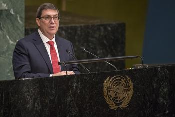 Bruno Eduardo Rodríguez Parrilla, Minister for Foreign Affairs of Cuba, addresses the General Assembly meeting on the necessity of ending the economic, commercial and financial embargo imposed by the United States against his country. Cia Pak/