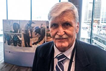 Lt General Roméo Dallaire speaking to Matt Wells. UN News/Matt Wells