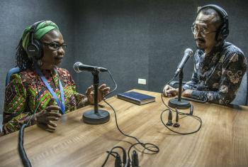Isha Dyfan, UNAMID Human Rights Section Chief, speaking with Setyo Budi in UNAMID Radio studio in El Fasher, Darfur.
