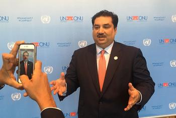 Khurram Dastgir Khan, Pakistan's Defence Minister, at the 2017 UN Peacekeeping Defence Ministerial conference in Vancouver, Canada. Matt Wells/UN News.