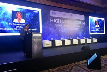 Simonetta Di Pippo, Director of the UN Office for Outer Space Affairs (UNOOSA) speaking at the opening ceremony of the High Level Forum on Space as a Driver for Socio-economic Development.