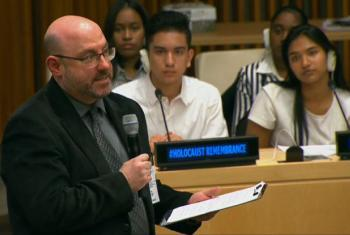 """Kevin Feinberg, New York Program Director of Facing History and Ourselves, speaking at the event """"From Desperation to Inspiration: The 70th Anniversary of the Anne Frank Diary"""" on 9 Nov 2017 at UN Headquarters in NY. (screengrab)"""