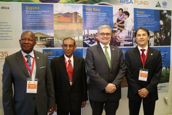 Director of UNOSSC, Jorge Chediek along with representatives from Brazil, India and South Africa during the IBSA fund report launch. UN News/Laura Quinones