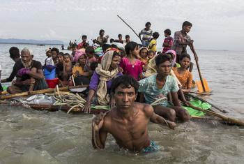 Rohingya refugees are resorting to increasingly desperate measures such as makeshift rafts to cross the Naf River to Bangladesh.