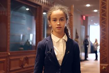 """13 year old student Sylvie Watts at the event """"From Desperation to Inspiration: The 70th Anniversary of the Anne Frank Diary"""" held in early November at UN Headquarters in New York. UN News/Nam Cho"""