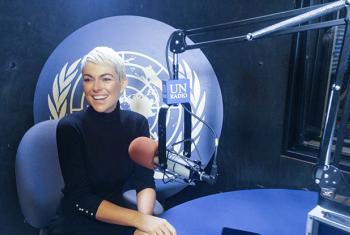 Serinda Swan, actor and human trafficking activist, at the UN Radio studio in New York. UN News/Elizabeth Scaffidi