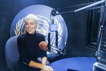 Serinda Swan, actor and human trafficking activist, at the UN Radio studio in New York. UN News/Elizabeth Scaffidi