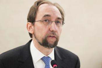 UN High Commissioner for Human Rights Zeid Ra'ad Al Hussein at the Human Rights Council in Geneva.