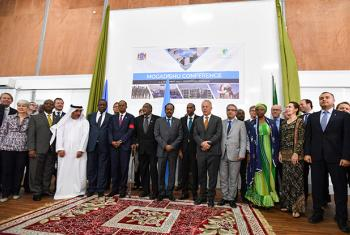 Participants of the Somalia Partnership Forum held in Mogadishu on 5 December, featuring Mohamed Abdullahi Mohamed Farmaajo, the Federal President of Somalia, and Michael Keating, the Special Representative of the UN Secretary-General for Somalia.