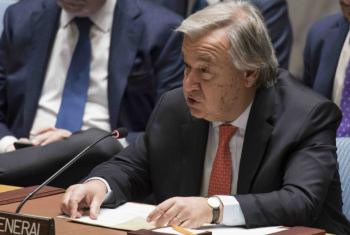UN Secretary-General António Guterres delivers remarks at the Security Council meeting on addressing the complex contemporary challenges to international peace and security.