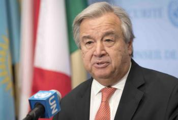 Secretary-General António Guterres speaks to reporters at the Security Council stakeout. (file)