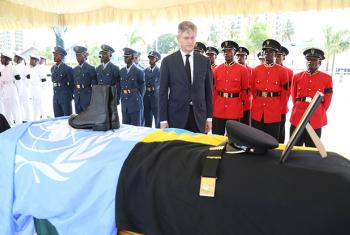 Under-Secretary-General for Peacekeeping Operations Jean-Pierre Lacroix takes part in a ceremony in Dar es Salaam honouring Tanzanian peacekeepers killed on 7 December in an attack on UN Stabilization Mission (MONUSCO) Company Operating Base at Semuliki i