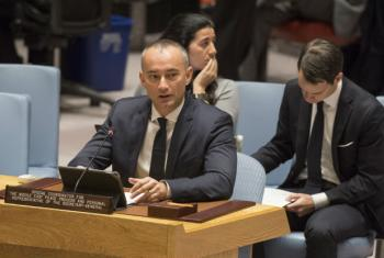 Nickolay Mladenov, UN Special Coordinator for the Middle East Peace Process and Personal Representative of the Secretary-General to the Palestine Liberation Organization and the Palestinian Authority, briefs the Security Council on 18 December 2017.