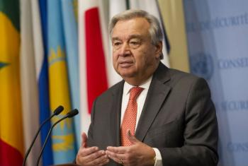 UN Secretary-General António Guterres addresses the press at the Security Council stakeout. (file)