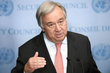 Secretary-General António Guterres speaks to journalists at a press encounter. (file)