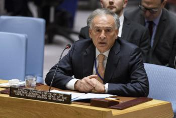 Jean Arnault, Special Representative of the Secretary-General and Head of the United Nations Verification Mission in Colombia, briefs the Security Council on the situation in the country.