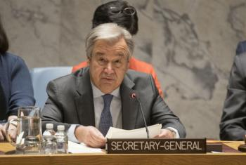 UN Secretary-General António Guterres addresses the Security Council meeting on Non-proliferation of Weapons of Mass Destruction, with a focus on confidence-building measures.