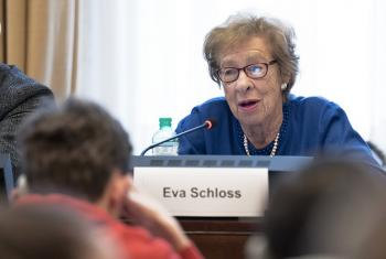 Eva Schloss, stepdaughter of Otto Frank (father of Anne Frank) at an event for the International Day in Memory of the Victims of the Holocaust at Palais des Nations in Geneva, Switzerland. 30 January 2018.