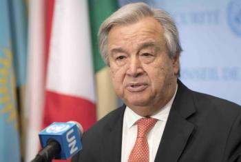 Secretary-General António Guterres speaks to reporters at the Security Council stakeout.