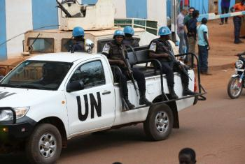 United Nations Multidimensional Integrated Stabilization Mission in the Central African Republic (MINUSCA) peacekeepers secure the city of Bangui in 2017.
