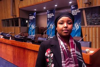 ZamZam Yusuf at UN Headquarters in New York. UN News / Matt Wells