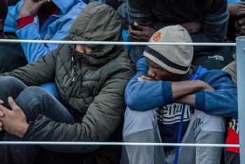Some of the rescued migrants aboard a Libyan Coastguard vessel.