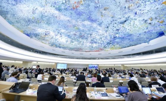 Sala del Consejo de Derechos Humanos en Ginebra. Foto de archivo: ONU/Jean-Marc Ferré.