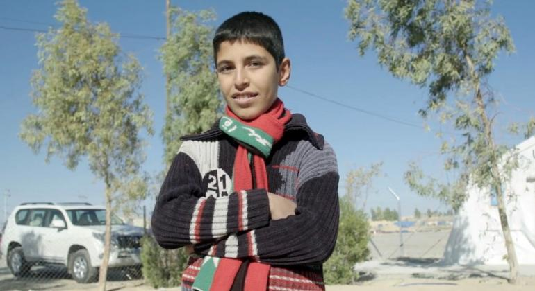 Mohamed asiste a una escuela administrada por UNICEF al norte de Iraq. Foto: Captura de pantalla