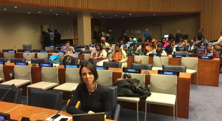 Carla Majdalani, Directora Nacional de Comunicación del Consejo Nacional de las Mujeres de Argentina durante su participación en la 61º sesión de la Comisión de la Condición Jurídica y Social de la Mujer en la sede de Naciones Unidas.
