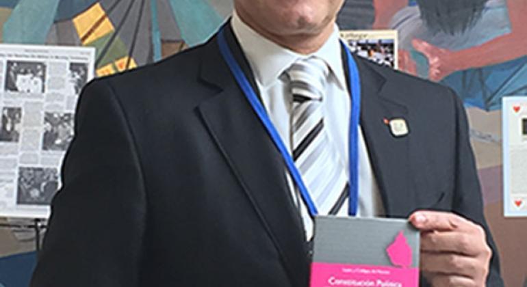 El jefe de gobierno de la Ciudad de México, Miguel Ángel Mancera Espinosa, presentó en la sede de la ONU la Constitución de esa metrópoli. Foto: Noticias ONU/Carla García
