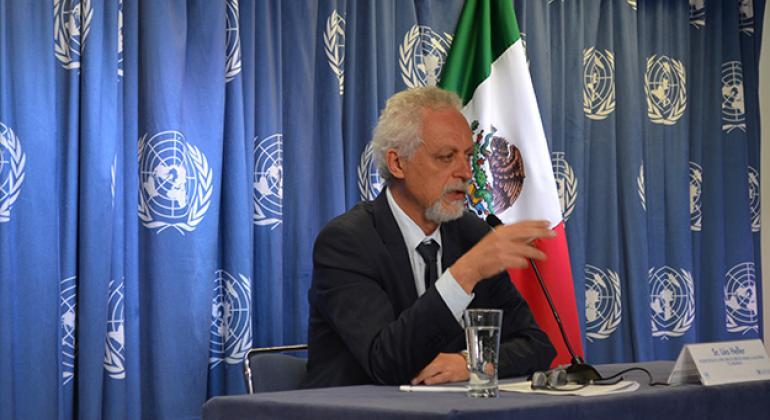 El relator especial de la ONU sobre los Derechos Humanos al Agua Potable y Saneamiento, Leo Heller, en conferencia de prensa al final de su visita a México. Foto: ONU-DH México