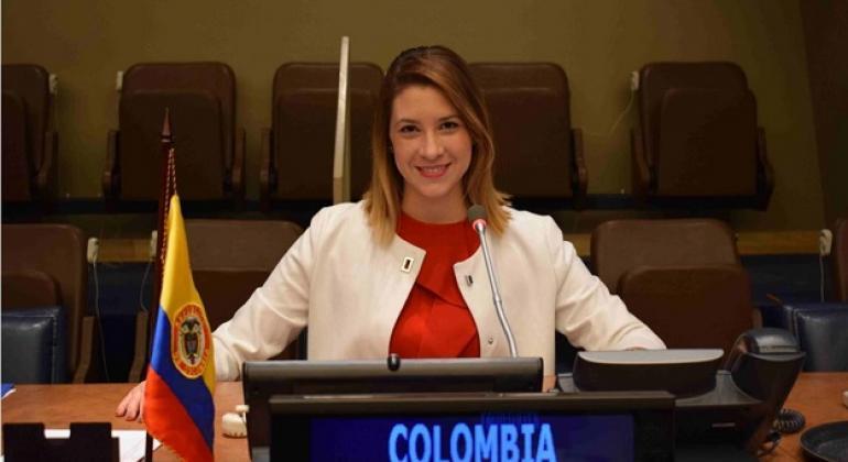 Juliana Antía García, profesional especialista en participación y cultura de paz del PNUD, durante su visita a la sede de la ONU en el Día Mundial de la Juventud. Foto: Vanessa Hidalgo