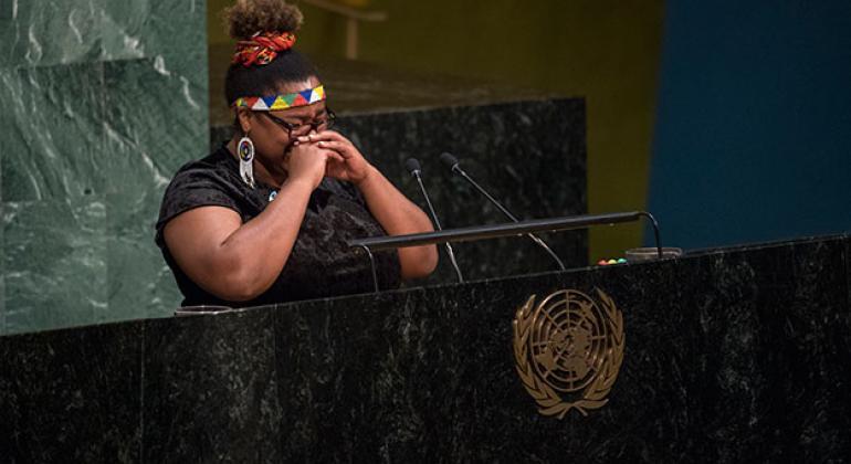 Grizelda Grootboom fue víctima de la trata de personas e intervino ante la Asamblea General que adoptó una declaración política para combatir el tráfico de personas. Foto: ONU/ Cia Pak