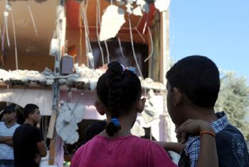 Casa destruida en bombardeo israelí a Gaza.