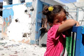 Una escuela de la OOPS bombardeada en Gaza