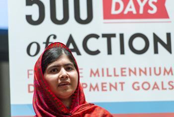 """Malala Yousafzai en el diálogo interactivo titulado """"500 Días de Acciones para Construir un Mundo Mejor"""". Foto / Mark Garten."""