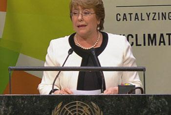Presidenta de la República de Chile, Excelentísima Señora Michelle Bachelet Jeria. Captura de video. UNTV.
