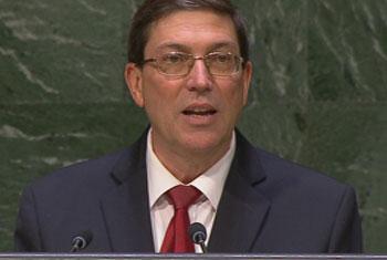 Ministro de Relaciones Exteriores de la República de Cuba, Bruno Rodríguez Parrilla.Captura de vídeo. UNTV