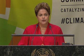 Presidenta de Brasil, Excelentisima Sra Dilma Rousseff. Captura de vídeo. UNTV