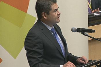 Presidente de la República de Honduras, Excelentísimo Sr Juan Orlando Hernández Alvarado. Captura de vídeo. UNTV