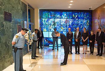 Acto de homenaje a la memoria del Secretario General de la ONU Dag Hammarsjkold, fallecido en un accidente en 1961 Foto ONU: Eskinder Debebe.