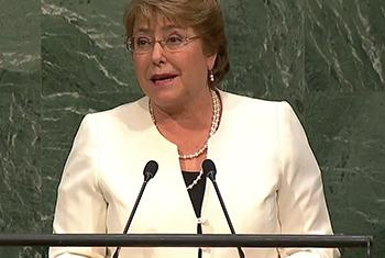 Michelle Bachelet. Captura de video. UNTV.