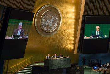 El nuevo Presidente de la Asamblea General, Mogens Lykkentoft, se dirige al auditorio. Foto ONU: Eskinder Debebe.